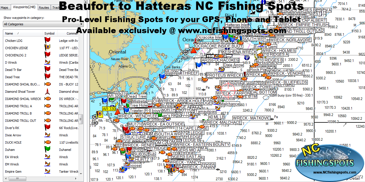 Hatteras Fishing Map With Hatteras Offshore Fishing Spots