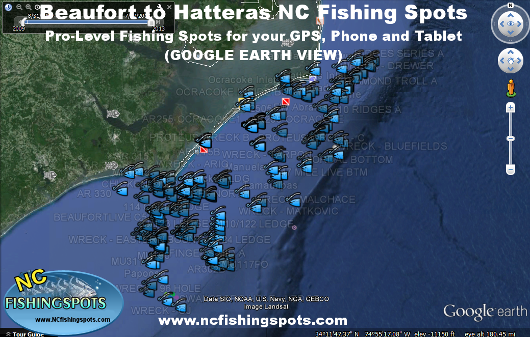 Hatteras fishing map with hatteras offshore fishing spots for Fishing outer banks nc