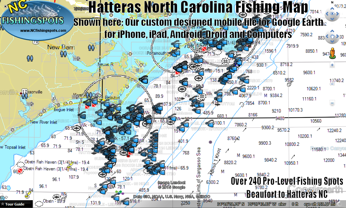 north carolina fishing maps for gps