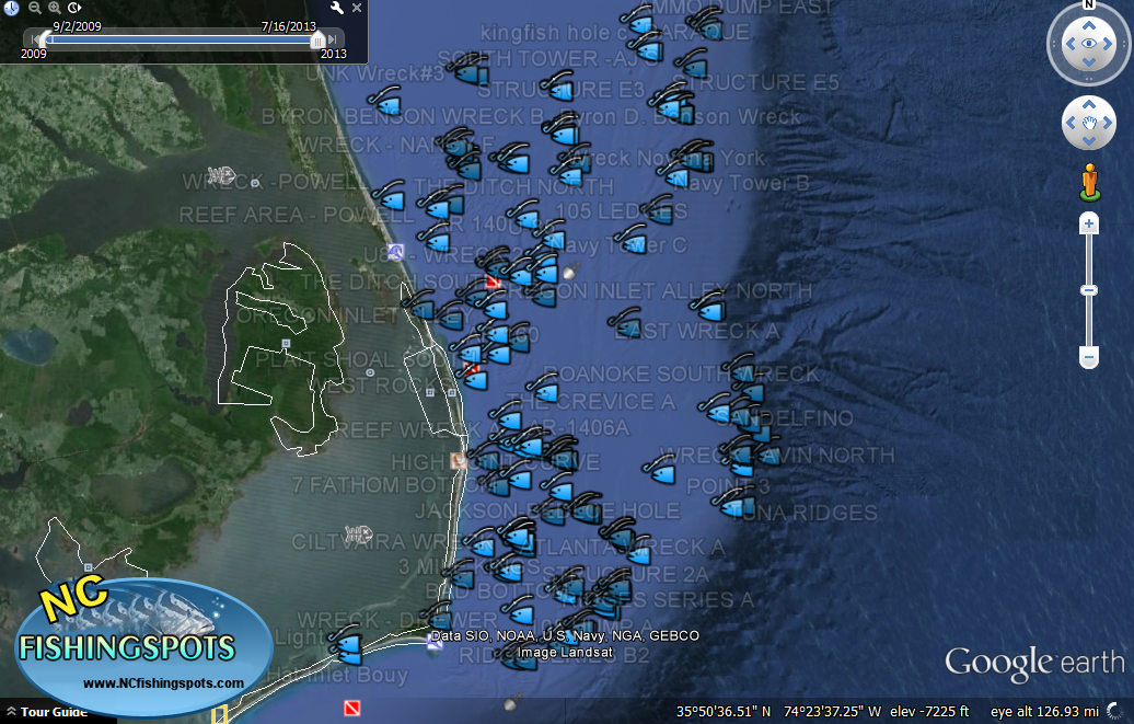 Outer banks fishing map for Fishing spots in nc