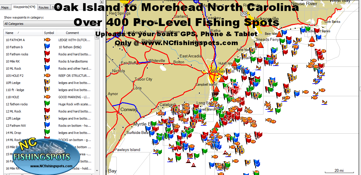 oak island morehead north carolina fishing map and fishing spots