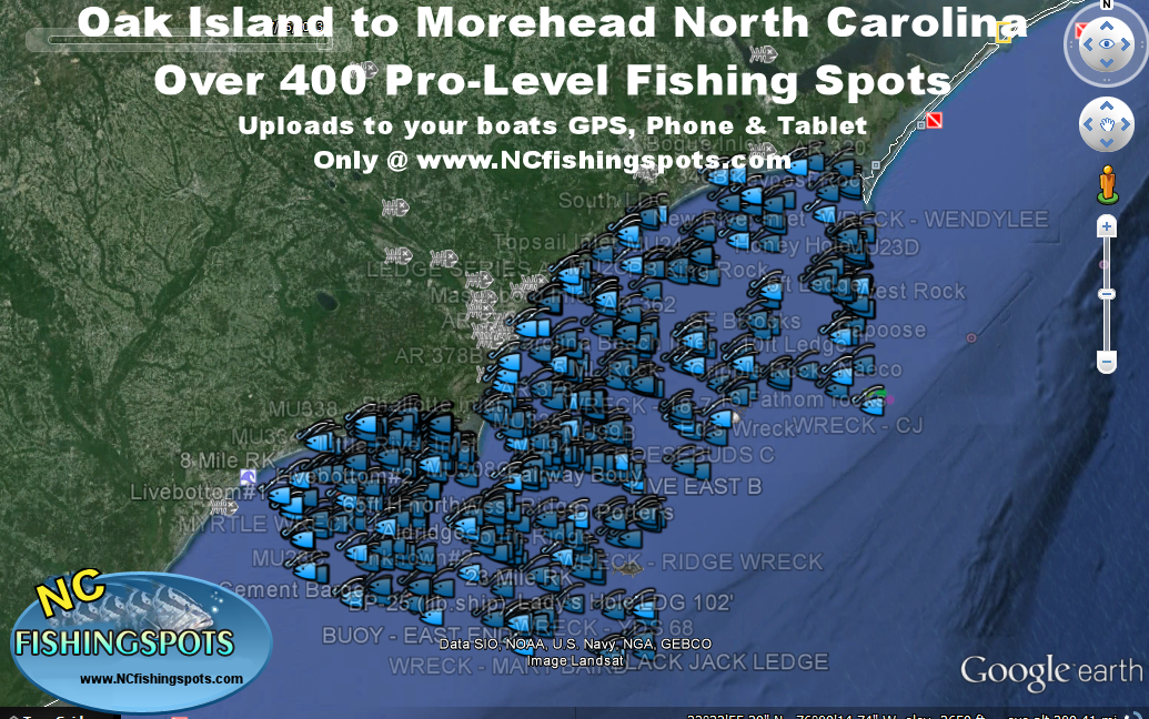oak island morehead north carolina fishing map and fishing